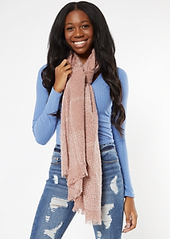 Light Pink Plaid Textured Blanket Scarf