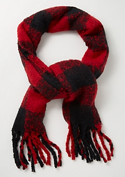 Red Plaid Print Fringed Blanket Scarf