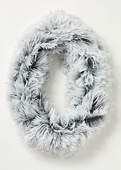 Gray Speckled Eyelash Knit Infinity Scarf