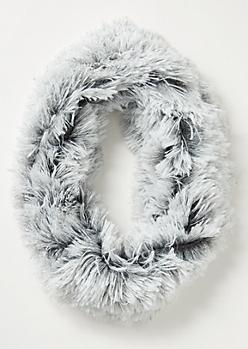Gray Speckled Eyelash Knit Infinity Scarf