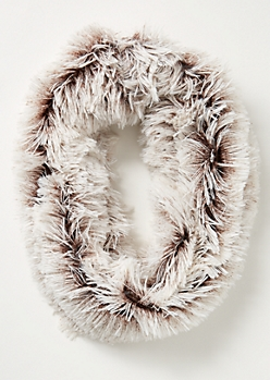 Brown Speckled Eyelash Knit Infinity Scarf