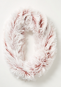 Pink Speckled Eyelash Knit Infinity Scarf