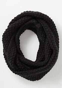 Black Pearl Knit Infinity Scarf
