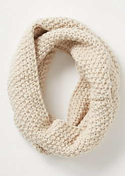 Ivory Pearl Knit Infinity Scarf