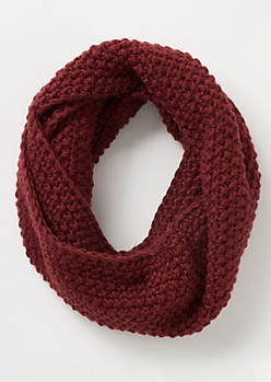 Burgundy Pearl Knit Infinity Scarf