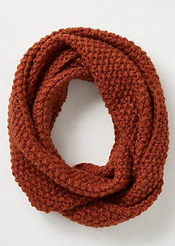 Burnt Orange Pearl Knit Infinity Scarf