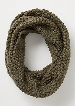 Olive Pearl Knit Infinity Scarf