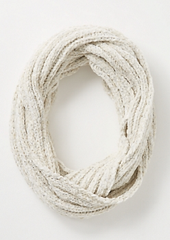 Ivory Metallic Chenille Infinity Scarf