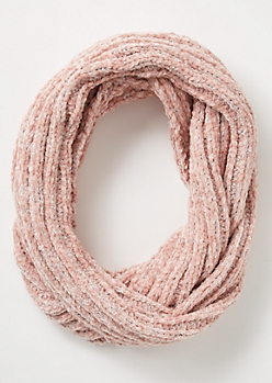 Pink Metallic Chenille Infinity Scarf