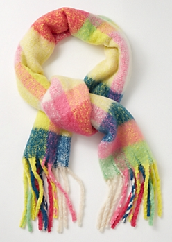 Rainbow Plaid Print Fringed Blanket Scarf