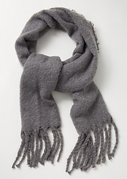 Gray Fringed Blanket Scarf