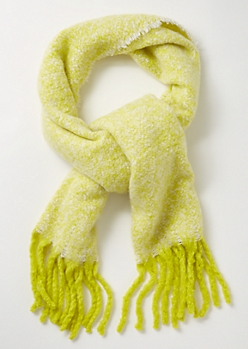 Neon Green Marled Fringed Blanket Scarf