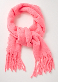 Neon Pink Fringed Blanket Scarf