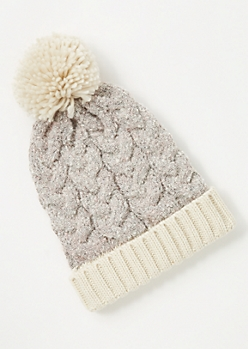 Oatmeal Cable Knit Colorblock Pom Pom Beanie