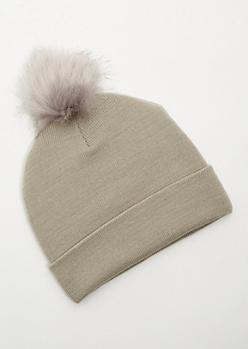 Gray Ribbed Knit Pom Pom Beanie