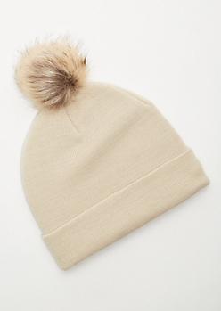 Cream Ribbed Knit Pom Pom Beanie