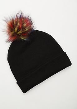 Black Ribbed Knit Multicolored Pom Pom Beanie