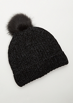 Black Fuzzy Chenille Pom Pom Beanie