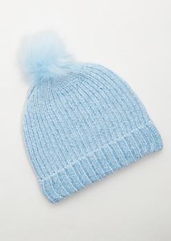 Blue Fuzzy Chenille Pom Pom Beanie