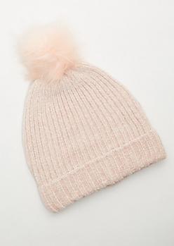 Pink Fuzzy Chenille Pom Pom Beanie