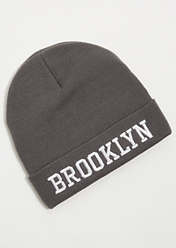 Gray Ribbed Knit Brooklyn Patch Beanie