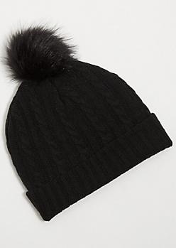 Black Faux Fur Lined Pom Pom Beanie