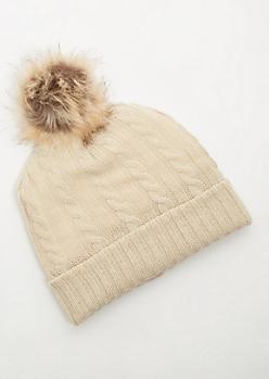 Cream Faux Fur Lined Pom Pom Beanie