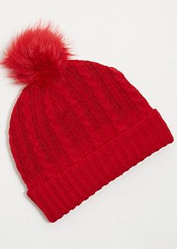 Red Faux Fur Lined Pom Pom Beanie
