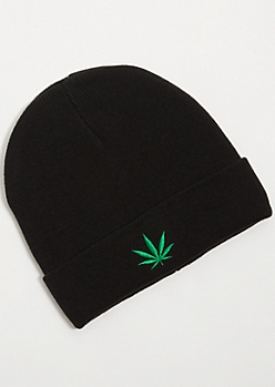 Black Ribbed Knit Weed Leaf Patch Beanie