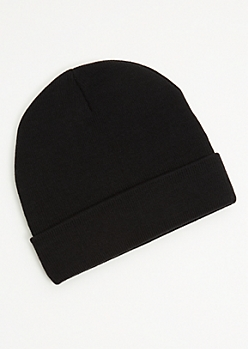 Black Ribbed Knit Rolled Trim Beanie