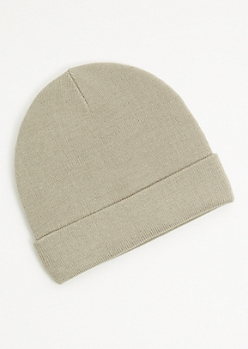 Gray Ribbed Knit Rolled Trim Beanie