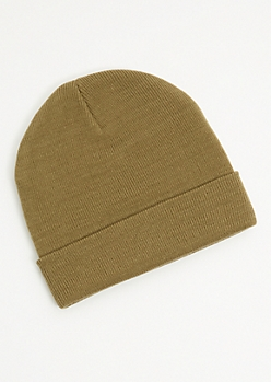 Light Olive Ribbed Knit Rolled Trim Beanie