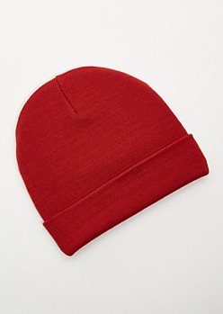 Red Ribbed Knit Rolled Trim Beanie