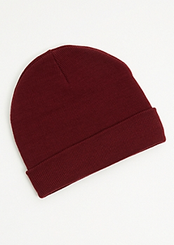 Burgundy Ribbed Knit Rolled Trim Beanie