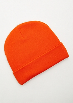Orange Ribbed Knit Rolled Trim Beanie