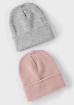 2-Pack Light Pink And Gray Essential Beanie Set