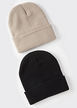 2-Pack Black And Taupe Essential Beanie Set