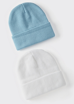2-Pack White And Blue Essential Beanie Set
