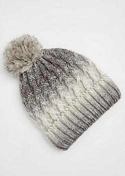 Gray Ombre Knit Pom Pom Beanie