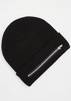 Black Front Zip Pocket Beanie