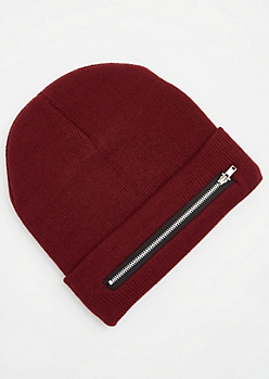 Burgundy Front Zip Pocket Beanie