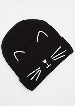 Black Cat Face Beanie