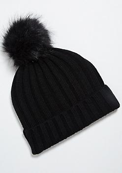 Black Thick Ribbed Knit Pom Pom Beanie