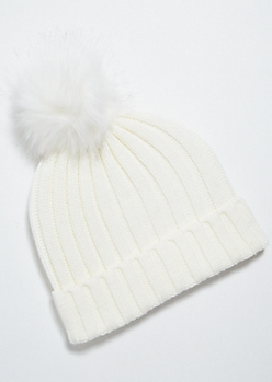Ivory Thick Ribbed Knit Pom Pom Beanie