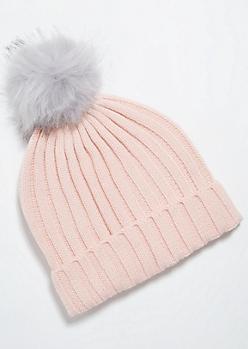Pink Thick Ribbed Knit Gray Pom Pom Beanie