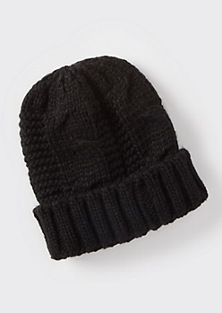 Black Chunky Cable Knit Beanie