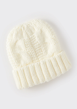 Ivory Chunky Cable Knit Beanie