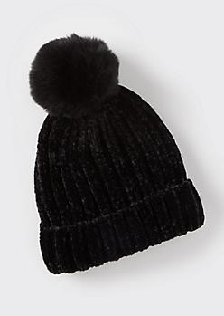 Black Chenille Pom Pom Beanie