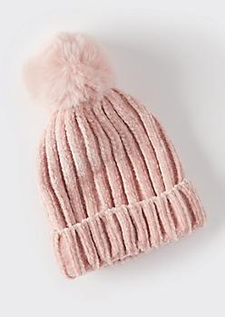 Pink Chenille Pom Pom Beanie