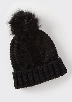 Black Cable Knit Faux Fur Pom Beanie